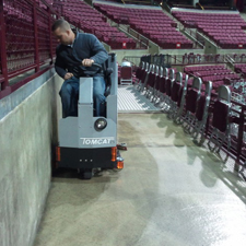 GTX Rider Floor Scrubber Getting Up in Stadium Seating