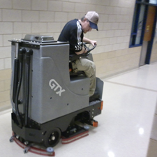 GTX Rider Floor Scrubber Cleans the Commons of a Corporate Headquaters