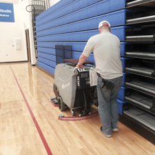 Magnum Floor Scrubber Cleans Gyms