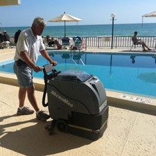 MicroMag Floor Scrubber Dryer Easily Can Work In A Crowded Pool Area