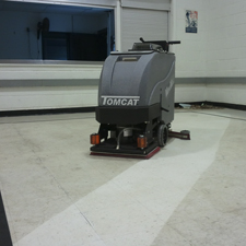 MiniMag Floor Scrubber Showing The Dirt it Can Get Up