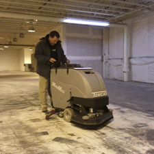MiniMag Floor Scrubber Dryer Showing The Dirt it Can Get Up
