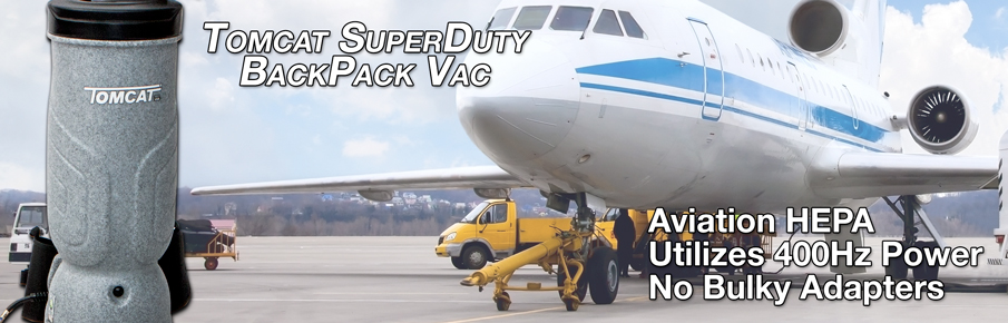 Aviation SuperDuty BackPack Vacuum is designed specifically for the Aviation Industry with same 400hz working system so no need for large adapters
