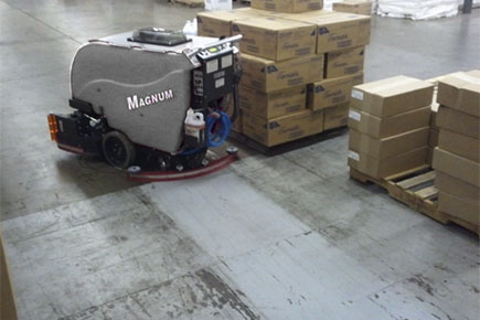 Magnum Walk Behind Scrubber-Sweeper Cleaning Commercial Warehouse Concrete Floor