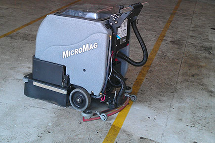 MicroMag Floor Scrubber Dryer Easily Cleans Firestation's Concrete Floor