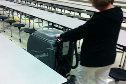MicroMag Floor Scrubber Dryer Easily Fits Inbetween Tables In A Crowded Cafeteria