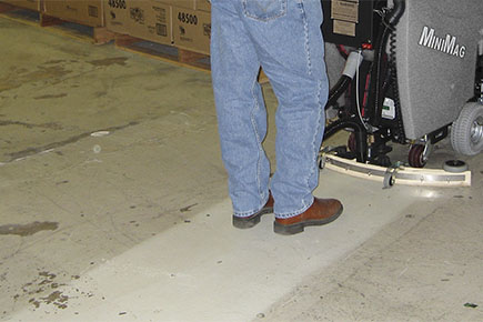 MiniMag Walk Behind Scrubber-Sweeper Commercial Shipping & Recieving Dock Cleaning