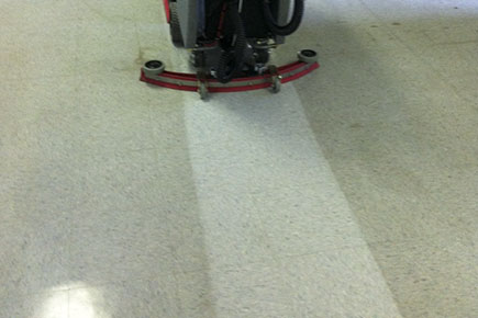 MiniMag Walk Behind Scrubber-Sweeper Cleaning School VCT Floor