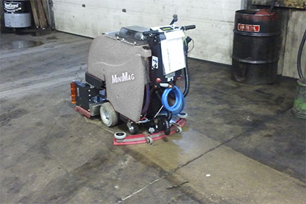 MiniMag Walk Behind Scrubber-Sweeper Cleaning Warehouse Concrete Floor
