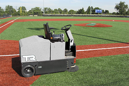 TR Rider Sweeper Cleaning Outdoor Astro Turf Baseball Diamond