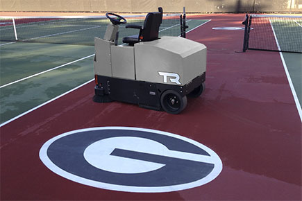 TR Rider Sweeper Cleaning Outdoor Tennis Courts