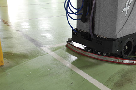 XR Floor Scrubber-Sweeper Cleaning Parking Garage